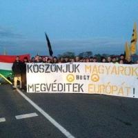 Osztrák támoga-tüntetés Hegyeshalomnál – Miklóshalmánál