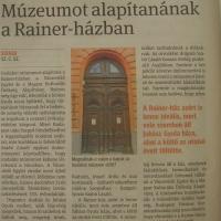 Múzeumot alapítanának a Rainer-házban